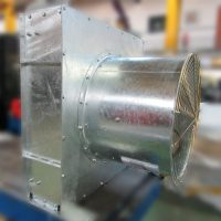 photo of an air cooled condenser showing the fan, designed and manufacture by Sterling Thermal Technology
