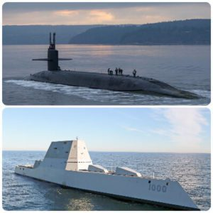 Image of a submarine and a defence surface ship